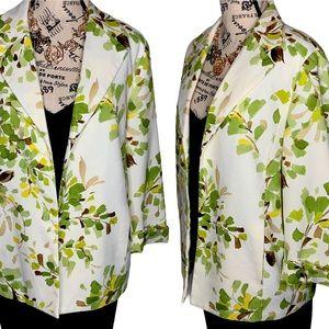 Alfred Dunner Floral Green Beige Plus Blazer Sz 1X